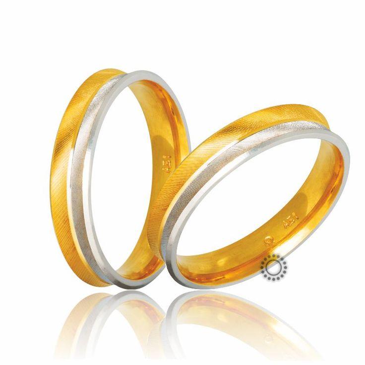 Βέρες γάμου Στεργιάδης S-2-YW | Ιδιαίτερες ανατομικές δίχρωμες βέρες καμπυλωτές προς τα μέσα σε διαμανταρισμένο ματ φινίρισμα | ΤΣΑΛΔΑΡΗΣ Χαλάνδρι #βέρες #βερες #γάμου