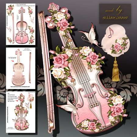 Vintage Soft Rose Violin on Craftsuprint designed by Atlic Snezana - Vintage Soft Rose Violin: 3 sheets for print with decoupage for 3D effect plus 1 sentiment tag (for your own personal text) - Now available for download!