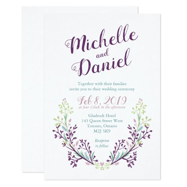 colorful rustic floral sketch wedding invitation custom office party