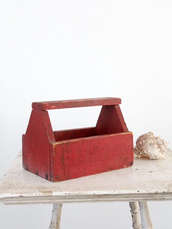 Vintage Tool Box / Red Wood Caddy