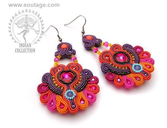 Jaipur handmade orange purple soutache earrings with