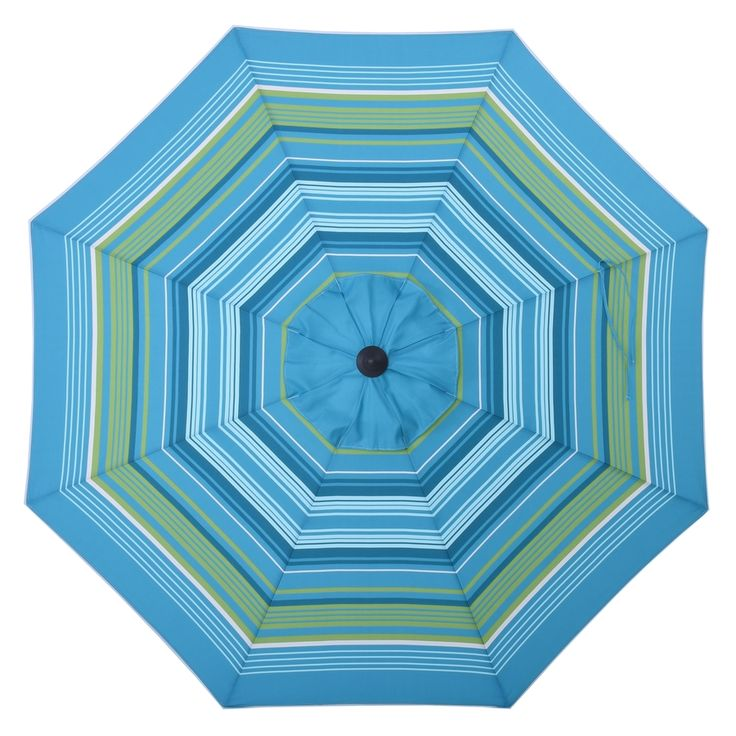 allen roth Teal Green Stripe Market Patio Umbrella (Common ...