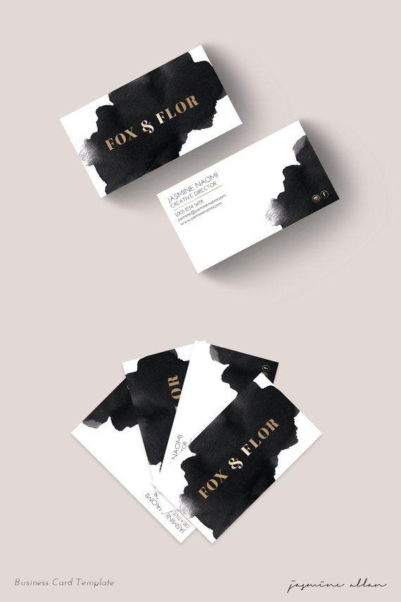 Tarjeta de visita prefabricada, tarjeta de visita de acuarela, marca de empresario, negro y dorado, marca minimalista vanguardista, tarjeta de visita imprimible   – Career