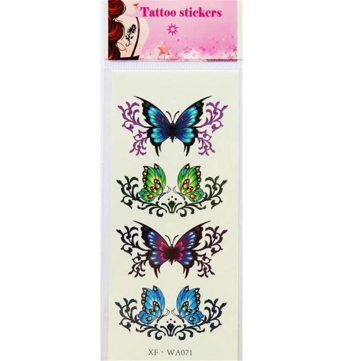 1 шт. Бабочка Цветок Шаблон Водонепроницаемый Временные Татуировки 3D Бабочка Цветок Поддельные Татуировки Наклейки U0307