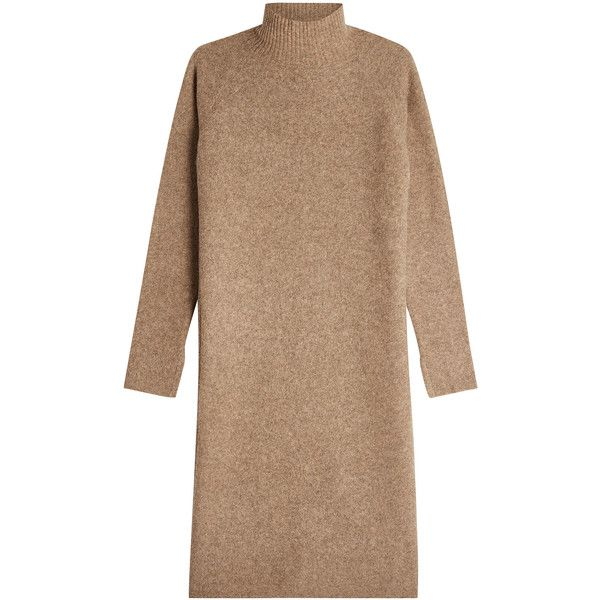 By Malene Birger Dress ($325) ❤ liked on Polyvore featuring dresses, beige, beige turtleneck, wool dress, turtle neck dress, beige dress and wool turtleneck