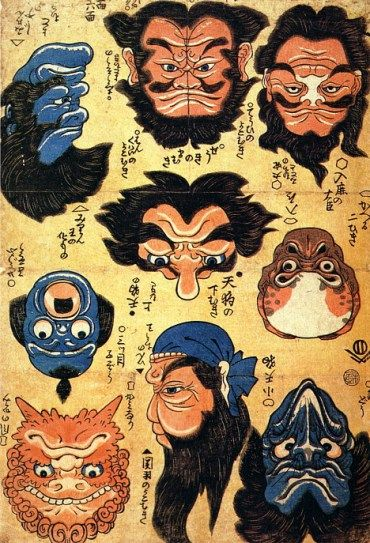 Two-faced Japanese masks, 19th century