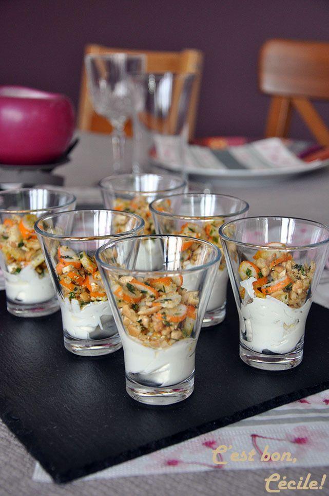 Verrines aux miettes de surimi et noix de cajou concassées