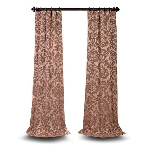 Wellington Taupe and Mushroom  120 x 50 In. Faux Silk Jacquard Single Panel Curtain