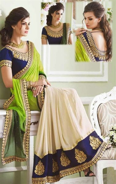 Green and beige half half saree with blue border and blue blouse