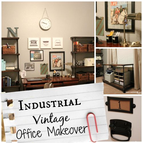 industrial vintage office makeover wellgroomed home pipe shelves
