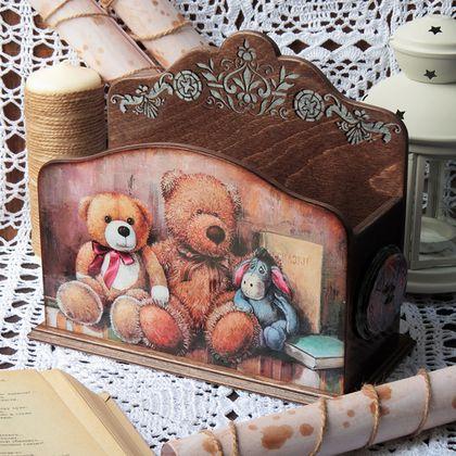 """Подставка для бумаг """"Мой любимый мишка """"декупаж - коричневый,подставка для бумаг"""