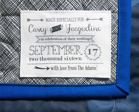custom weddding quilt label sewing label by bordercityquilts