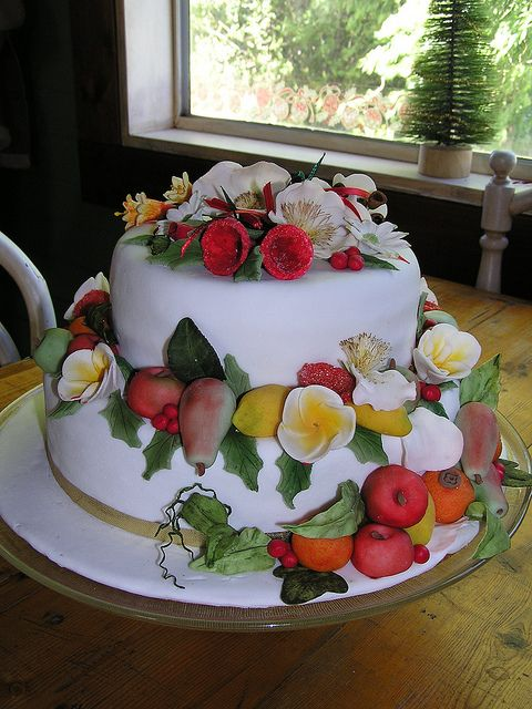 Marzipan fruits and sugar flower Christmas cake