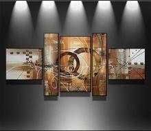 100% El boyalı Modern duvar sanat soyut tuval duvar sanatı resim üzerinde el yapımı yağlıboya oturma odası 5 adet/takım(China (Mainland))