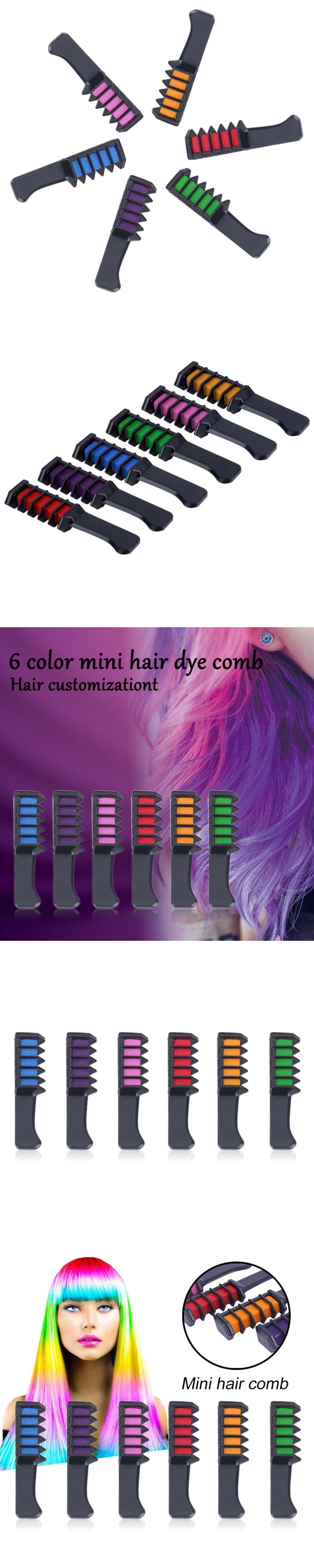 2Pcs  Wholesale  Multicolor Hair Mascara 2017 New Semi Permanent Hair Color Chalk With Comb Temporary Blue Hair Dye