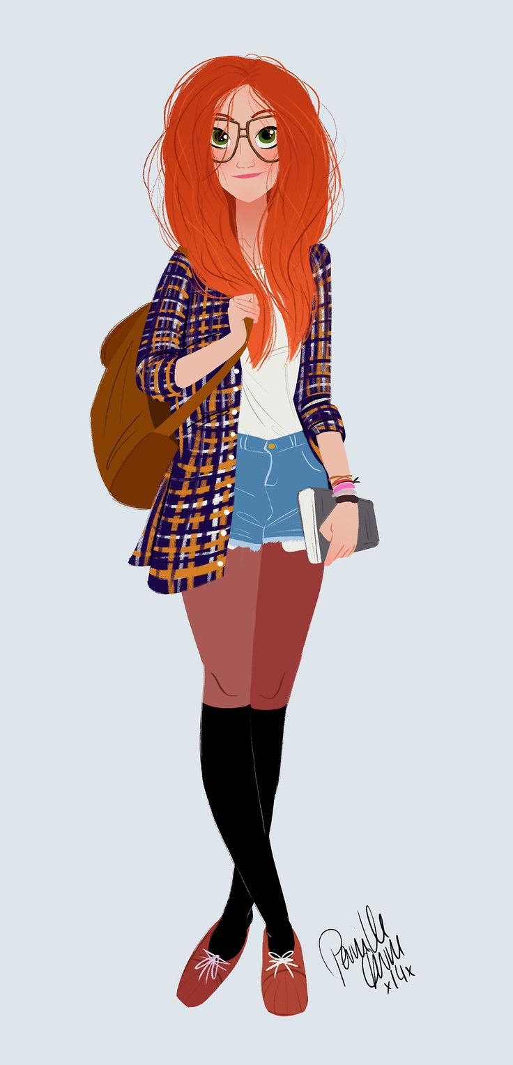 """""""Girl with Red Hair"""" - an intricate vector illustration created in Adobe Illustrator with wonderfully realistic hair."""