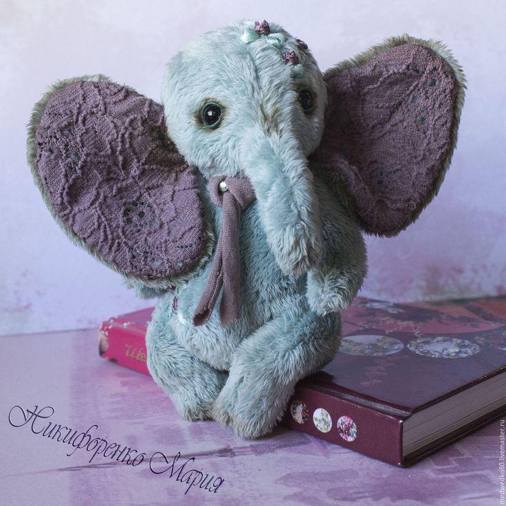 Teddy elephant  Margo  made of velboa.  Тедди слоняша Марго сшита из вельбоа. Купить Слоняша тедди Марго - мятный, Тедди ручной работы, тедди с вышивкой лентами, слон. #teddy #teddy_elephant #elephant#toys_elephant #toys_handmade #toys_plush #MEDWEDKO #gift_shop_handmade