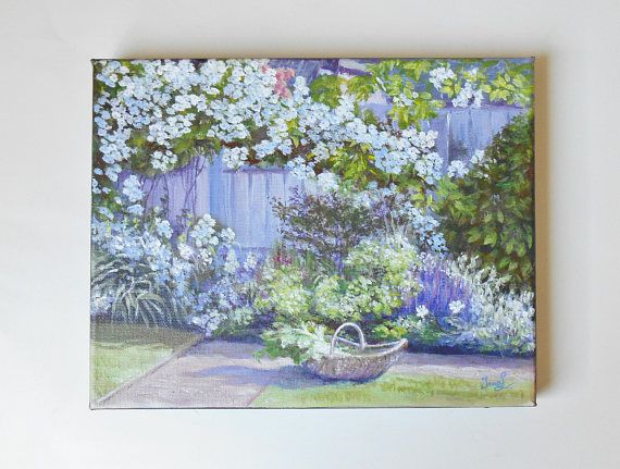 Original Painting on 10 X 8 Canvas Summer Garden Landscape