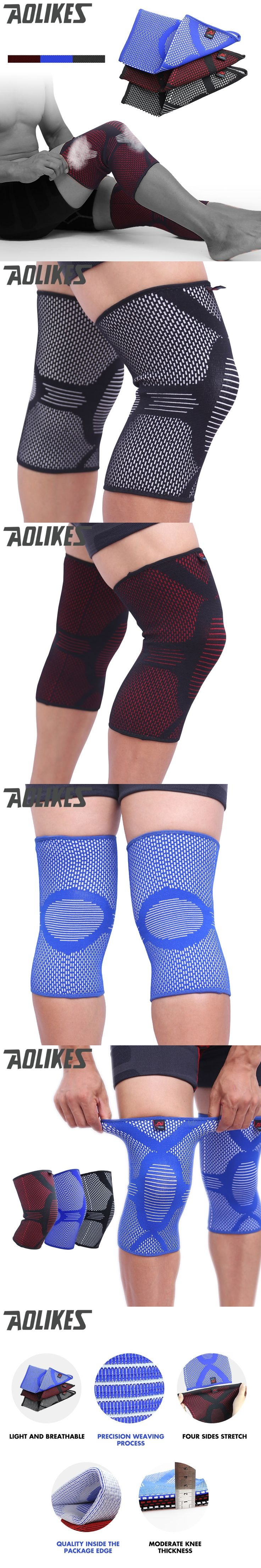AOLIKES Nylon Elastic Basketball Knee Pads for Volleyball Knee Support Leg Sleeve Sports Knee Brace Healthy Care leg wamer
