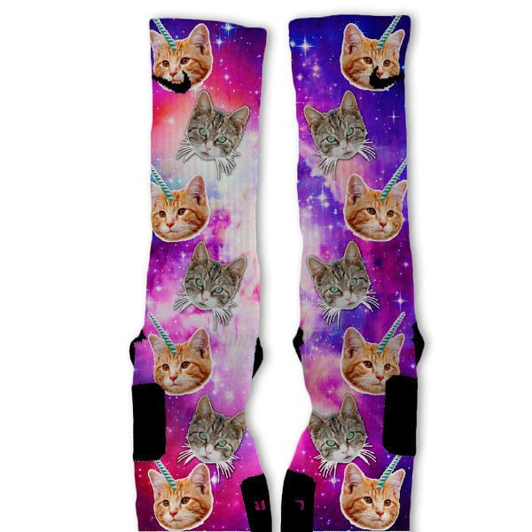 Crazy Space Cats Custom Nike Elite Socks from www.FreshElites.com