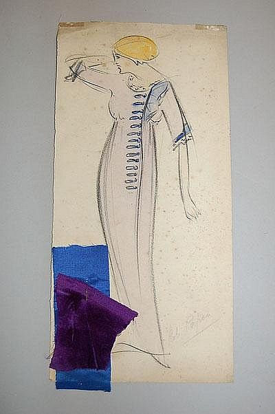 Fashion sketch from the Paul Poiret studio, circa 1912, pencil and watercolour with fabric swatches attached