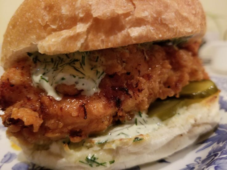 [Homemade] fried chicken sandwich with garlic-dill mayo and sweet pickles