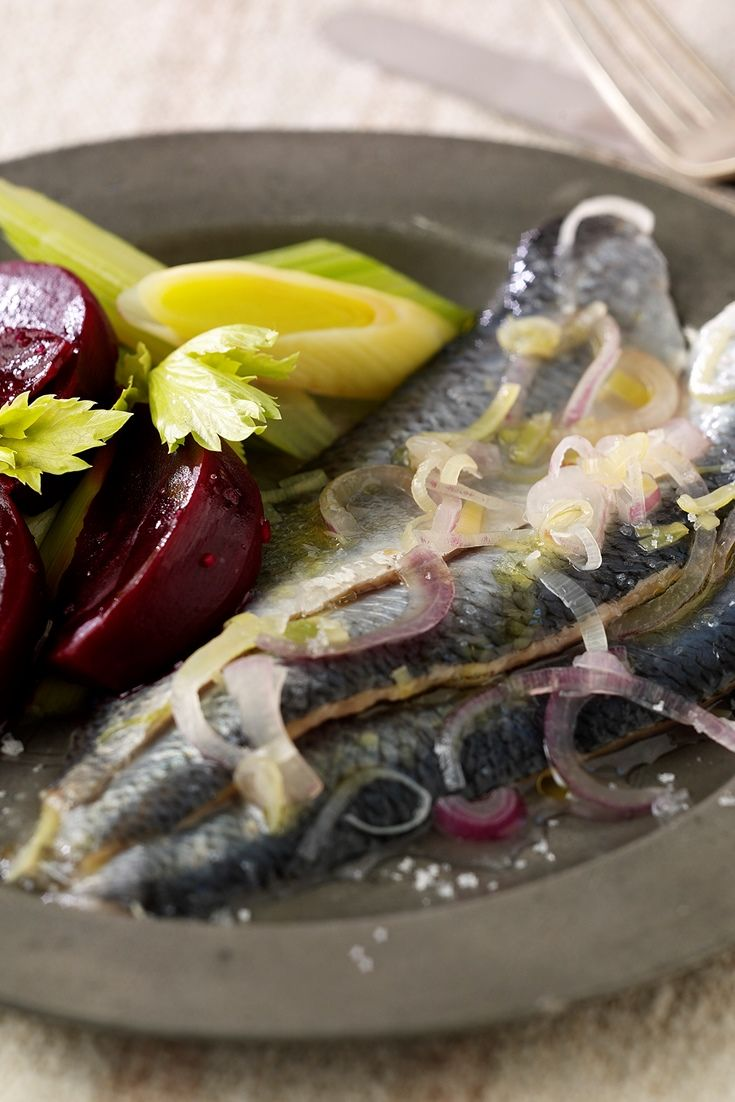 A simple herring dish by chef Andy McLeish pairs the fish with beets, leeks and horseradish