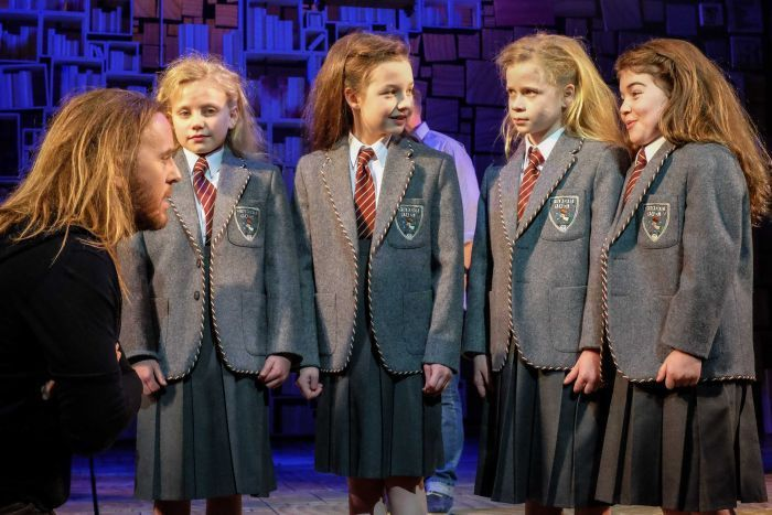 Composer and lyricist of Matilda the Musical Tim Minchin with the cast