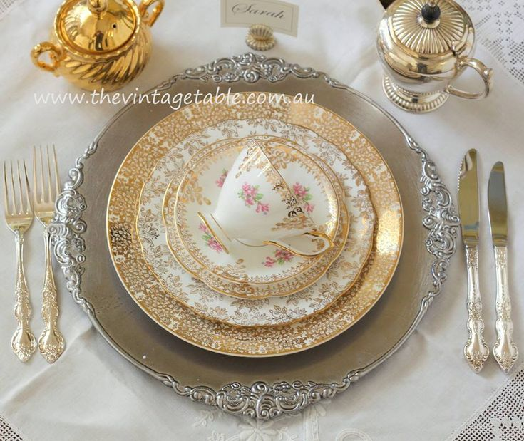 This Placesetting Is To Die Gold Charger Champagne: Vintage Place Setting On Baroque Silver Charger Plate