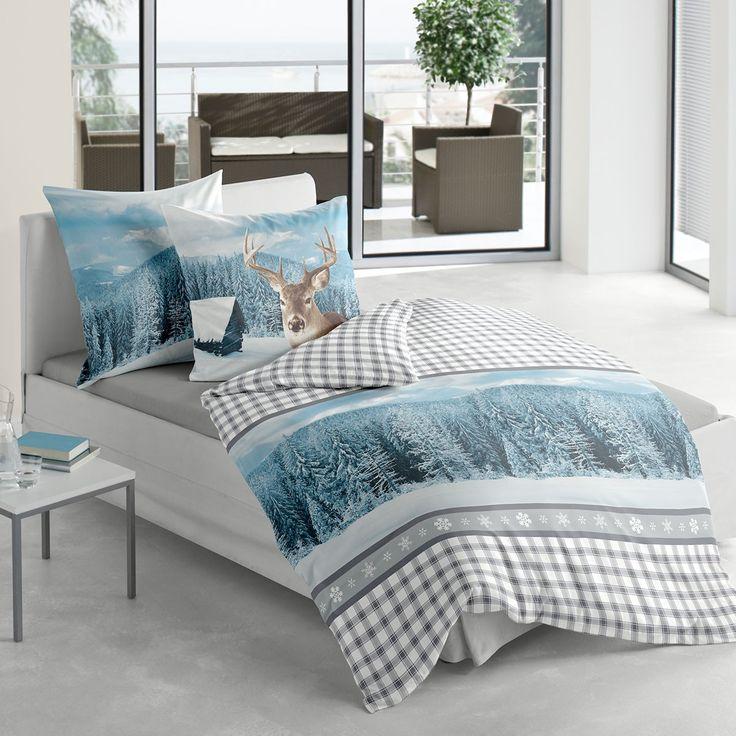 Biber Bettwäsche Hirsch blau aus flauschig weicher Baumwolle. Kuscheln Sie sich in die gemütliche Bettwäsche aus einem besonders warmen, flauschigen Biber. Das tolle Muster sorgt für Behaglichkeit im Schlafzimmer.  www.bettwaren-shop.de