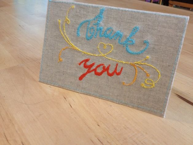 Embroidery Thank you cards @dawanda #embroidery #thank you card