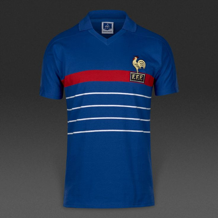 Score Draw Retro France Home 1984 Football Shirt Blue