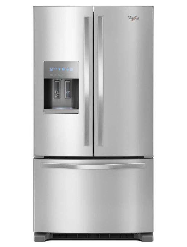 Whirlpool 25 Cu Ft French Door Refrigerator In Fingerprint Resistant Stainless Steel Wrf555sdfz The Home Depot In 2020 French Door Refrigerator French Doors Refrigerator