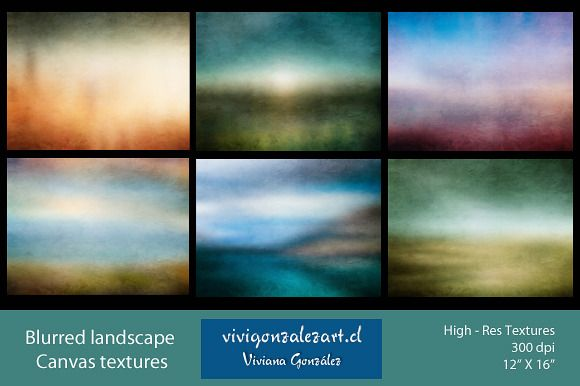 Blurred landscape canvas textures by ViviGonzalezArt on Creative Market