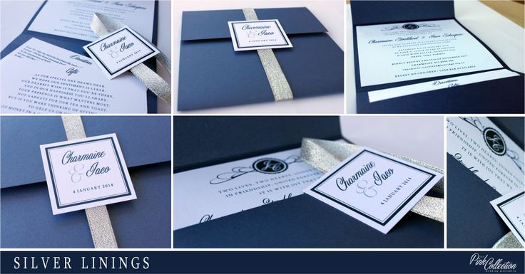 Navy and silver create a striking yet elegant invitation.