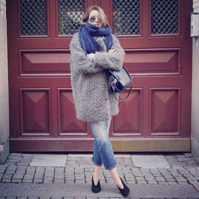 Keeping warm in the teddy jacket Neva