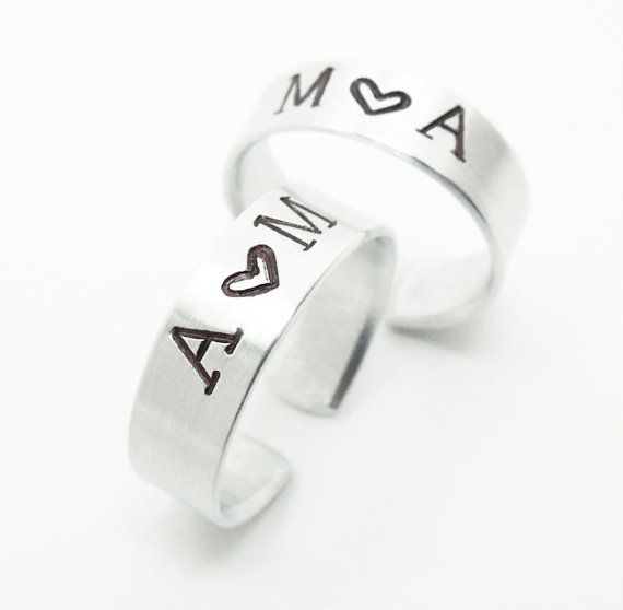 Personalized promise rings His and hers rings  by indiecreativ, $23.00