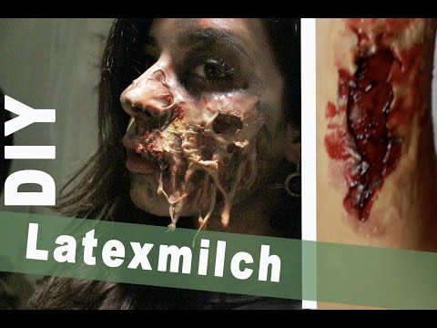 DIY Latexmilch aus Gelatine + 2 SFX Wunden LAST MINUTE HALLOWEEN KOSTÜM - YouTube