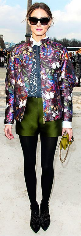 Olivia Palermo wearing Valentino Va Va Voom Clutch in Green Rebecca Minkoff Gio Too Leather and Suede Studded Ankle Boots