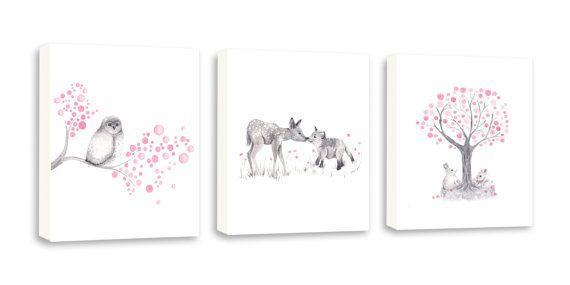 Pink Woodland Nursery | Woodland Nursery Canvas Set - Baby Girl Nursery - Pink and Gray ...