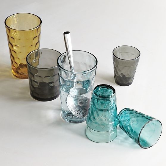 Dimpled Drinkware modern glassware in jewel tones