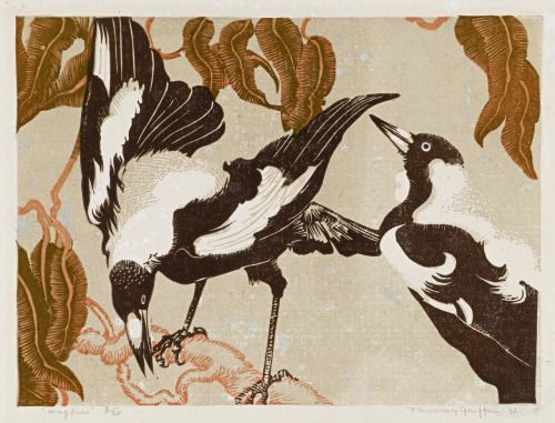 Title: Magpies Artist: Murray Griffin Date: 1932 Medium: Color linocut Size: 15.3 × 20.7 cm Source: National Gallery of Victoria