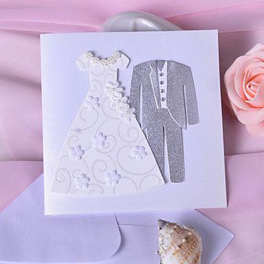 Bride & Groom Design bryllup invitasjon Med Flower/Pearls- Sett med 50 – NOK kr. 662