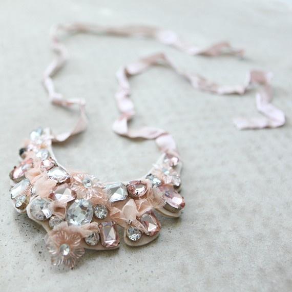 Romantic Beaded Bib Diamonte Necklace by stockexchange on Etsy, $38.00