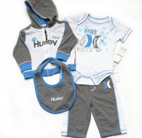 Hurley Baby Infant Boys Outfit Hoodie Onesie Pants Bib 4 Piece Set