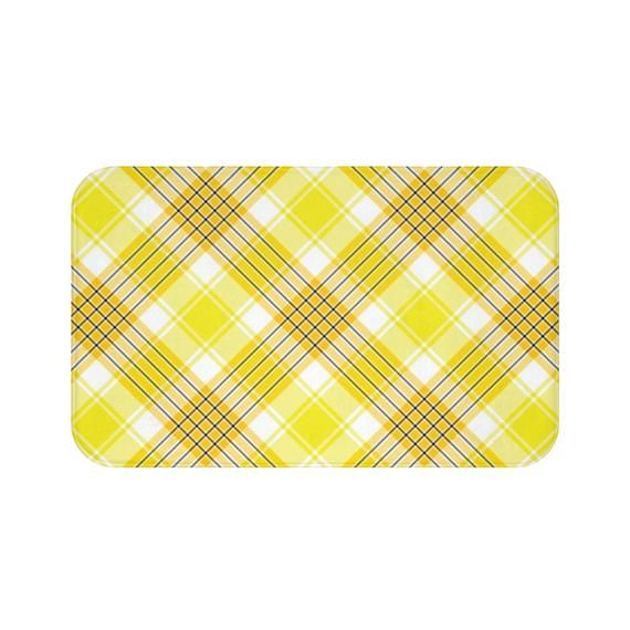 Yellow And White Plaid Bath Mat Padded Microfiber Construction