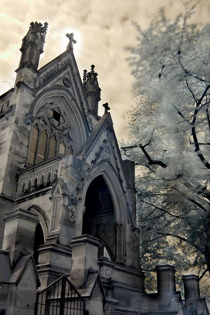 "The Dexter Mausoleum (aka ""Dracula House"") at Spring Grove Cemetery in Cincinnati, Ohio (2nd largest historical cemetery in the United States)"