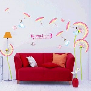 Lovely Living Room Decor With Colorful Umbrella Dandelion Wall Decals
