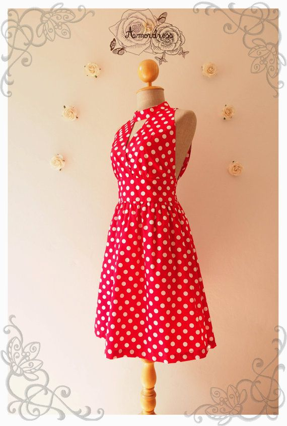 Red Party Dress Polka Dot collo alto stile Vintage di Amordress