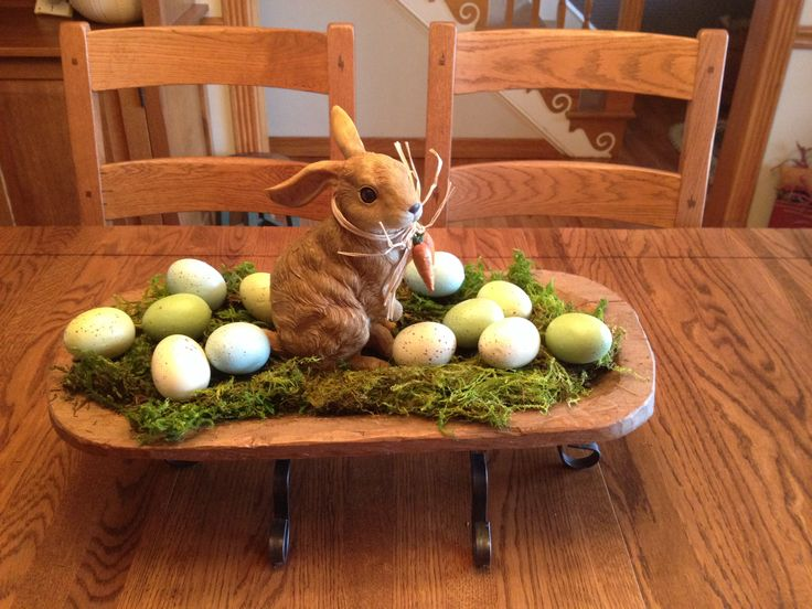 Easter centerpiece in wooden trough